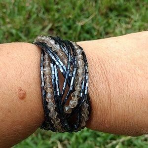 Gunmetal and Clear Cuff Bracelet